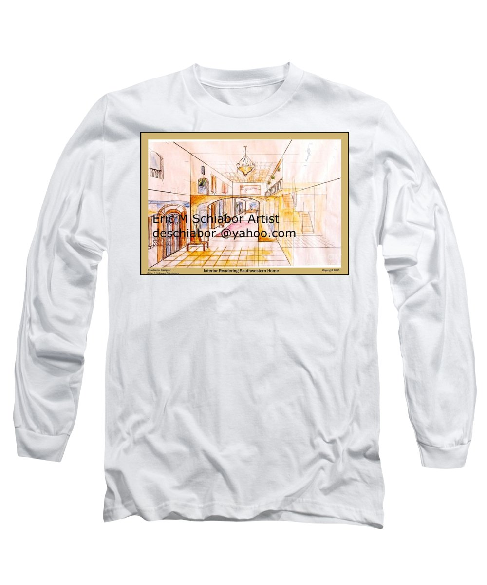 Interior Long Sleeve T-Shirt featuring the painting Interior Perspective by Eric Schiabor