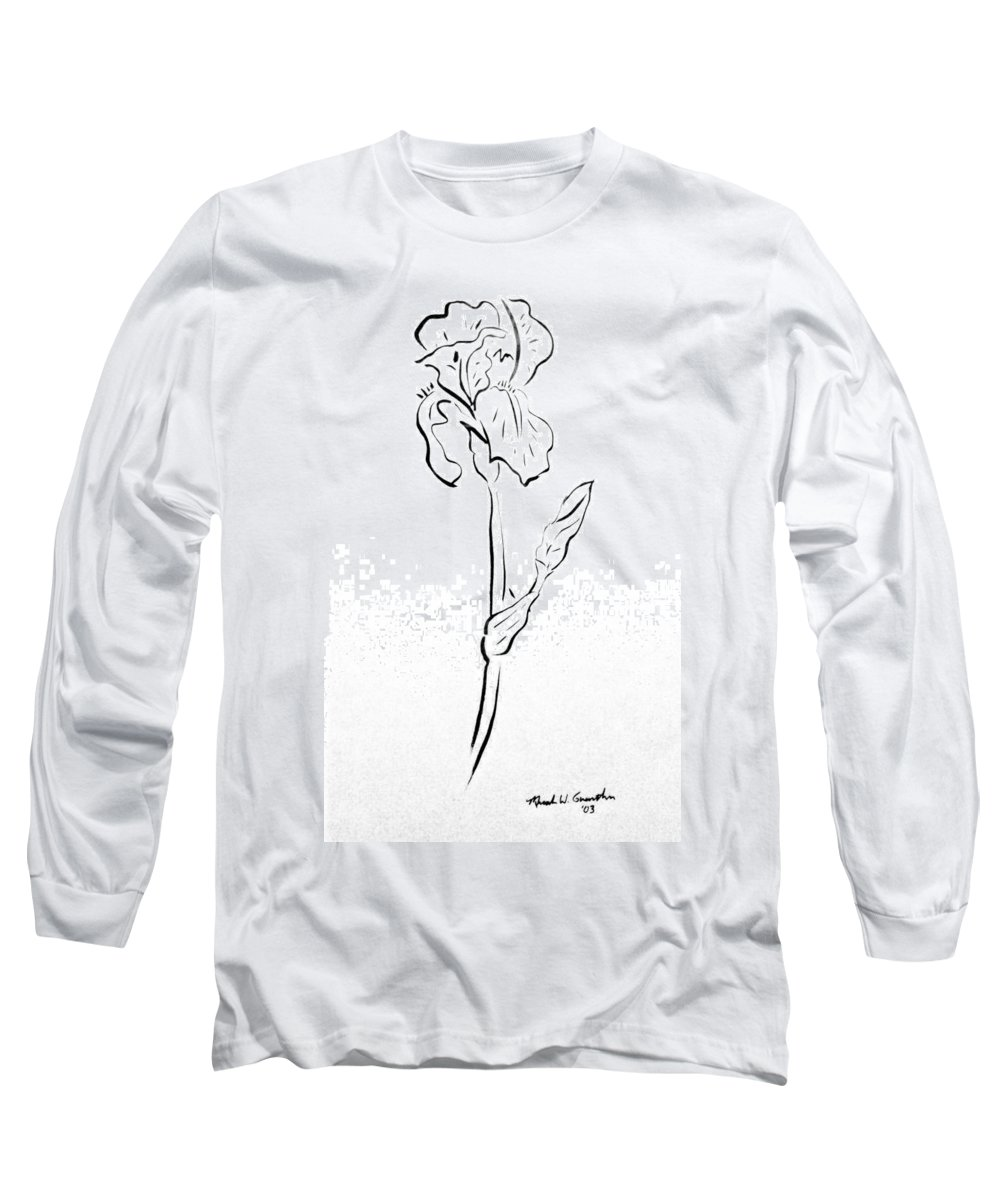 Abstract Long Sleeve T-Shirt featuring the drawing Iris II by Micah Guenther