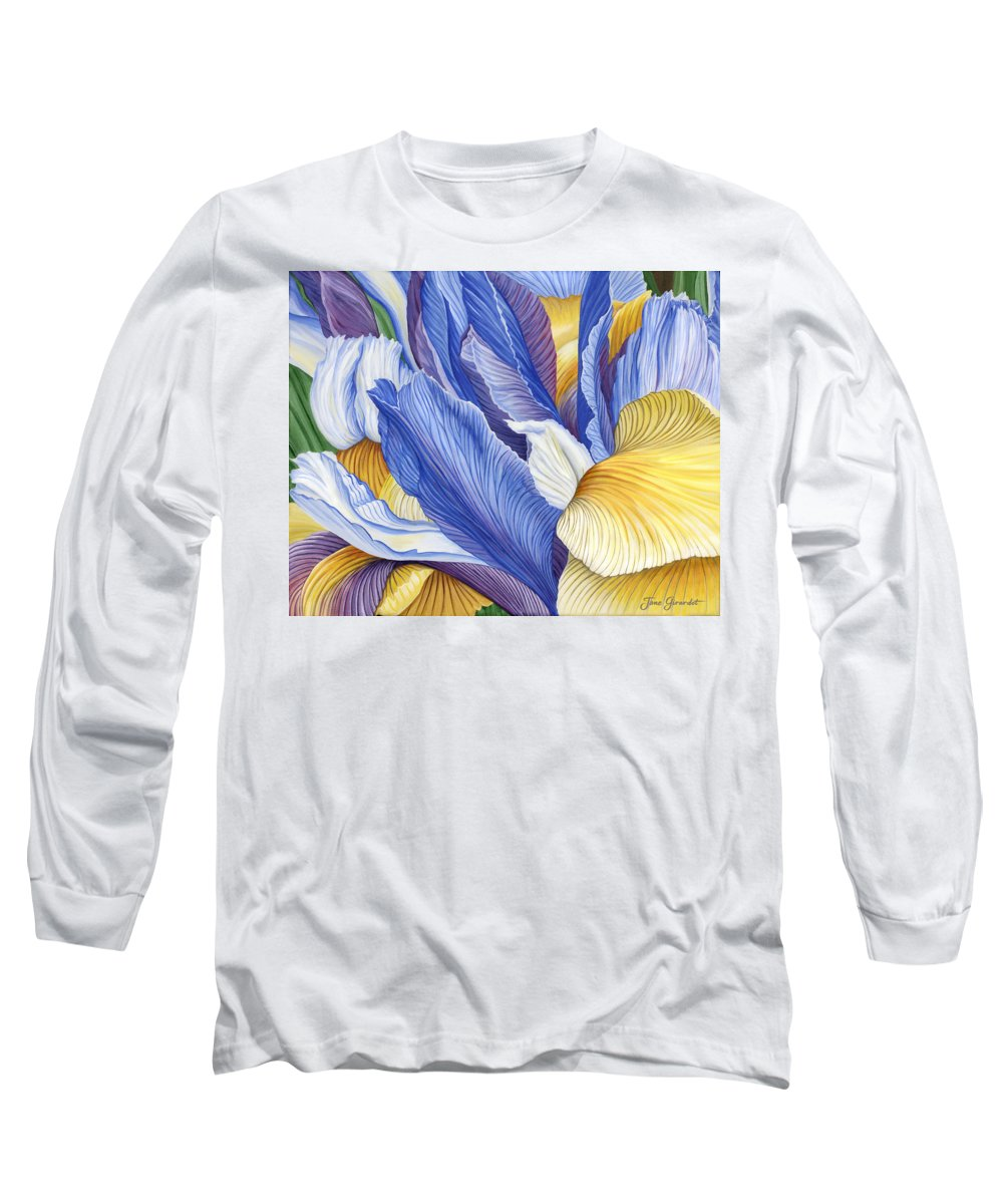 Iris Long Sleeve T-Shirt featuring the painting Iris by Jane Girardot