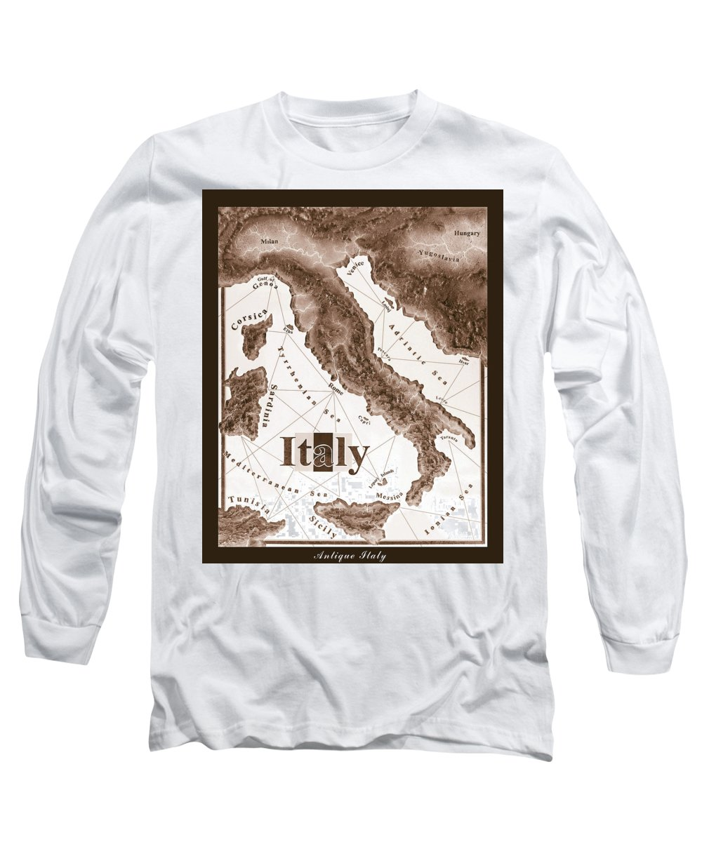 Italian Long Sleeve T-Shirt featuring the mixed media Italian Map by Curtiss Shaffer