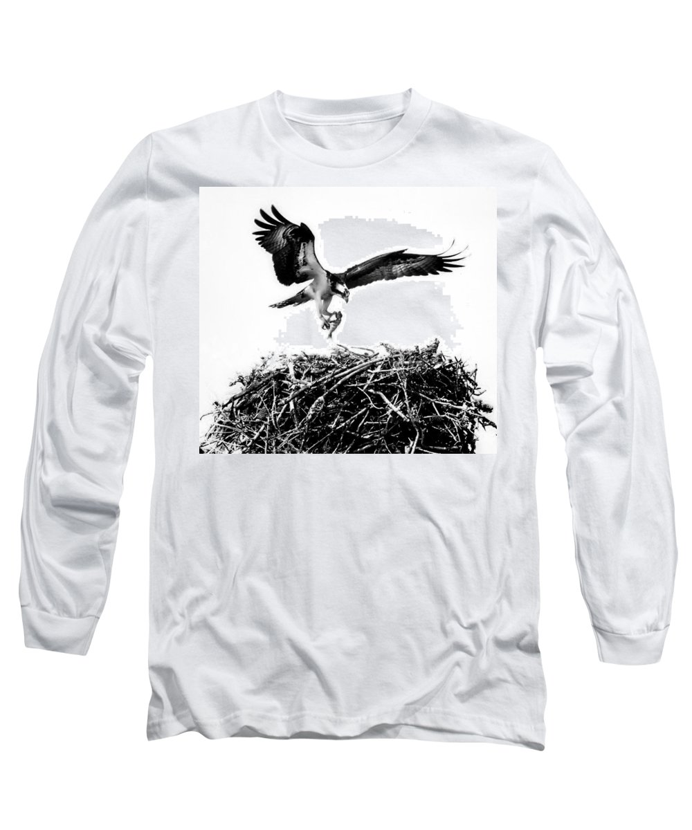 Osprey Long Sleeve T-Shirt featuring the photograph It's Feeding Time by Karen Wiles