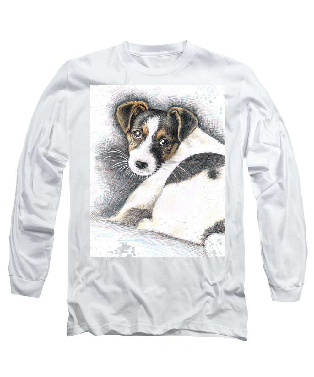 Dog Long Sleeve T-Shirt featuring the drawing Jack Russell Puppy by Nicole Zeug