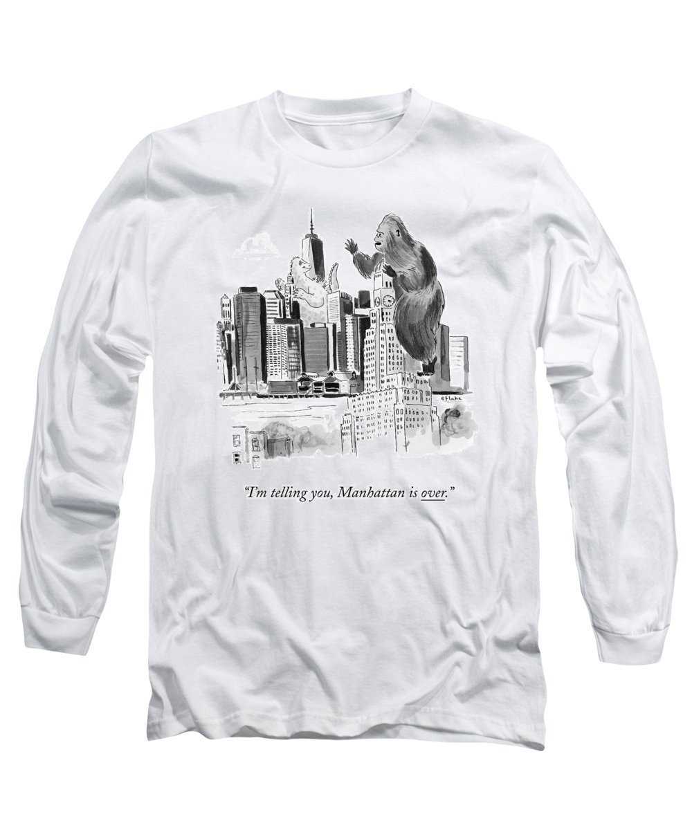 Godzilla Long Sleeve T-Shirt featuring the drawing King Kong, Atop The Williamsburgh Savings Bank by Emily Flake