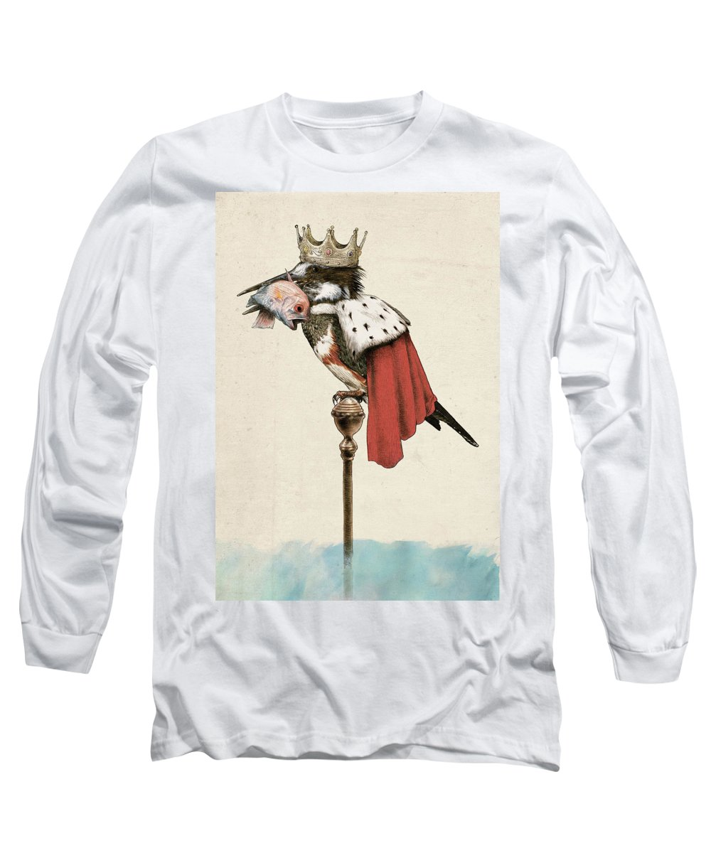 Kingfisher Long Sleeve T-Shirt featuring the drawing Kingfisher by Eric Fan