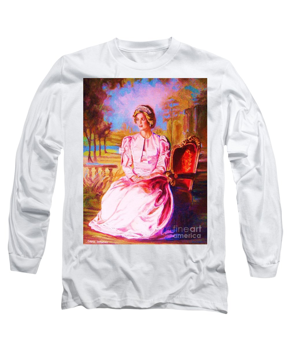 Princess Diana Long Sleeve T-Shirt featuring the painting Lady Diana Our Princess by Carole Spandau