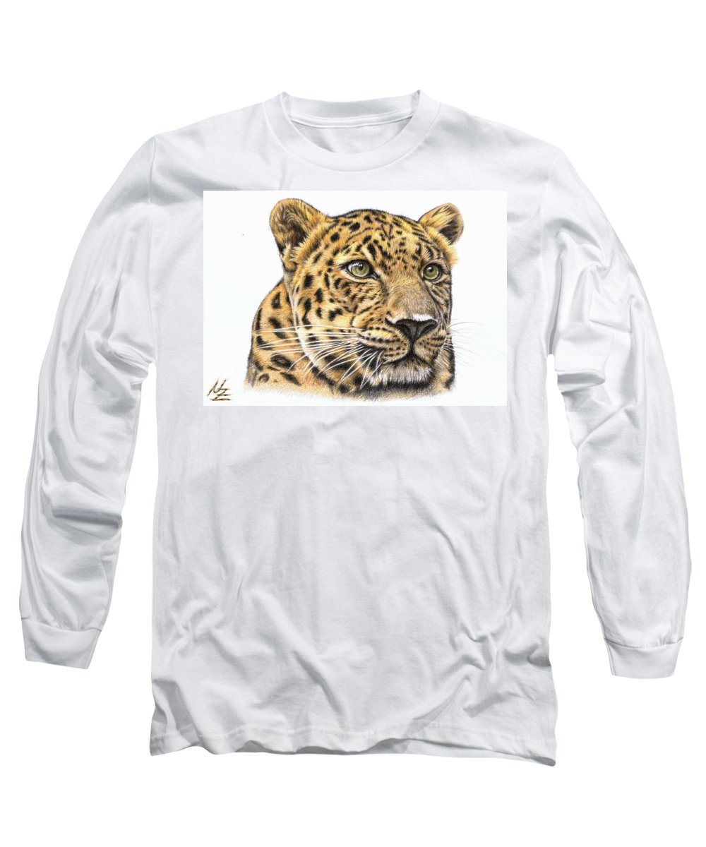 Leopard Long Sleeve T-Shirt featuring the drawing Leopard by Nicole Zeug