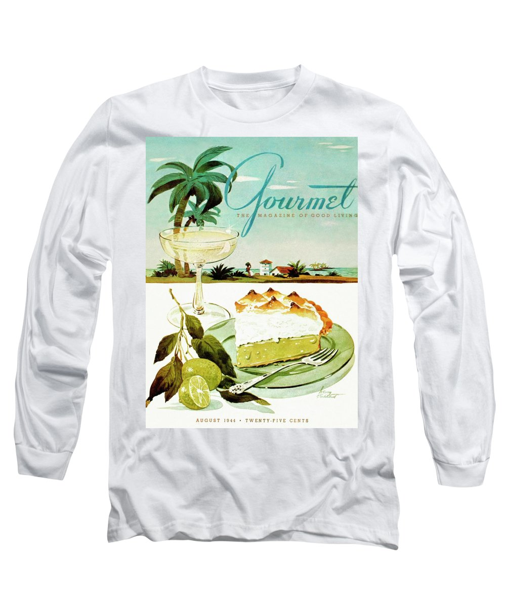 Food Long Sleeve T-Shirt featuring the photograph Lime Meringue Pie With Champagne by Henry Stahlhut