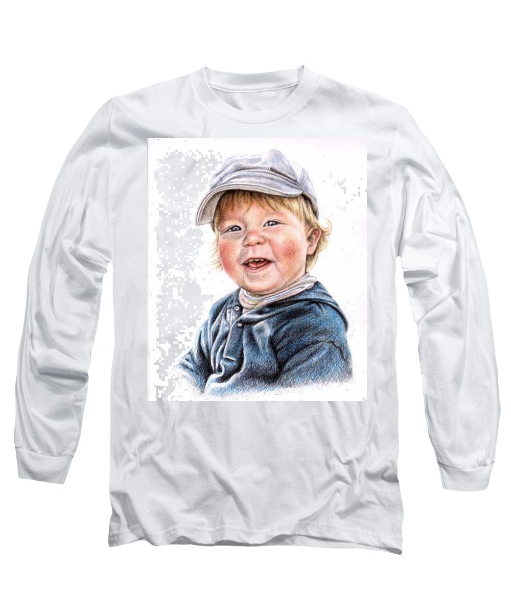 Boy Long Sleeve T-Shirt featuring the drawing Little Boy by Nicole Zeug