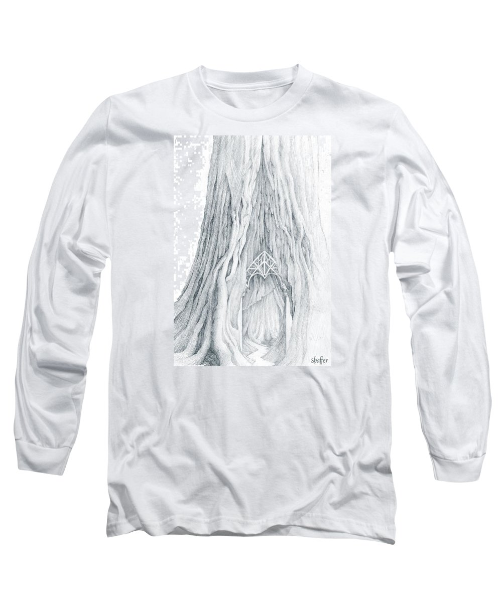 Lothlorien Long Sleeve T-Shirt featuring the drawing Lothlorien Mallorn Tree by Curtiss Shaffer