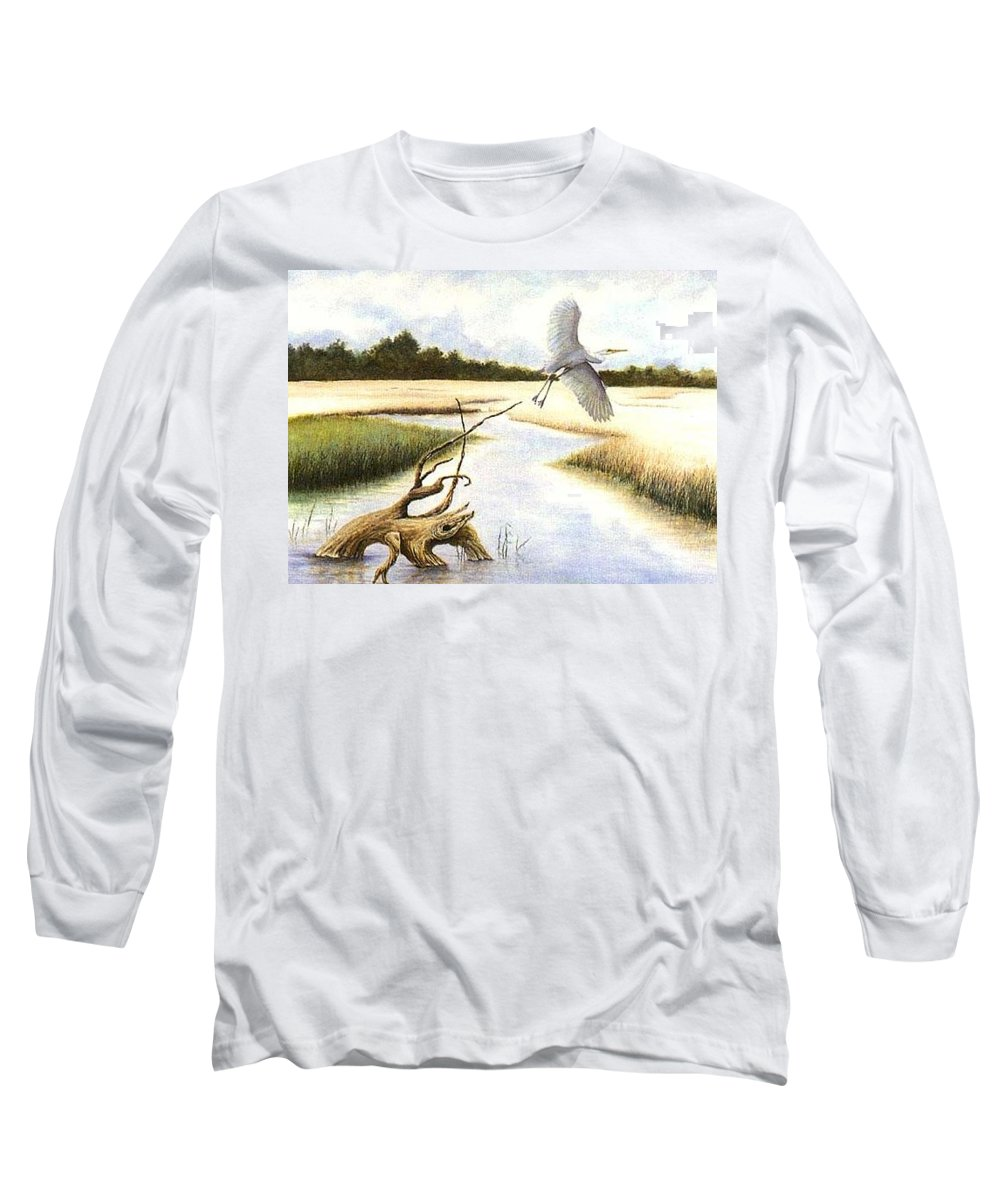 Egret Long Sleeve T-Shirt featuring the painting Low Country Marsh by Ben Kiger