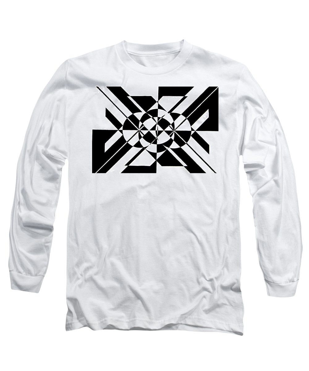 Abstract Long Sleeve T-Shirt featuring the painting Lunar City by Crystal Hubbard