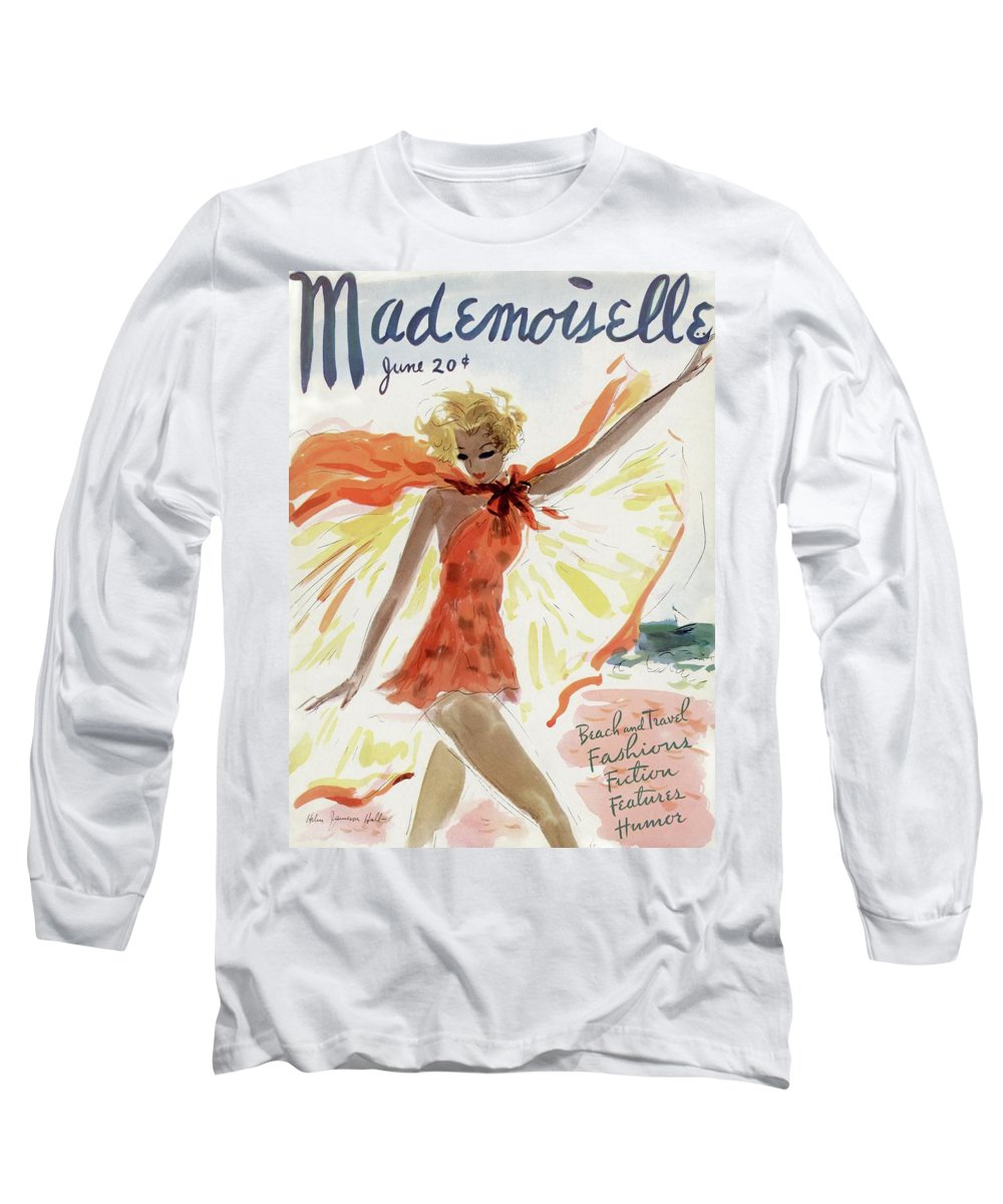 Illustration Long Sleeve T-Shirt featuring the photograph Mademoiselle Cover Featuring A Model At The Beach by Helen Jameson Hall