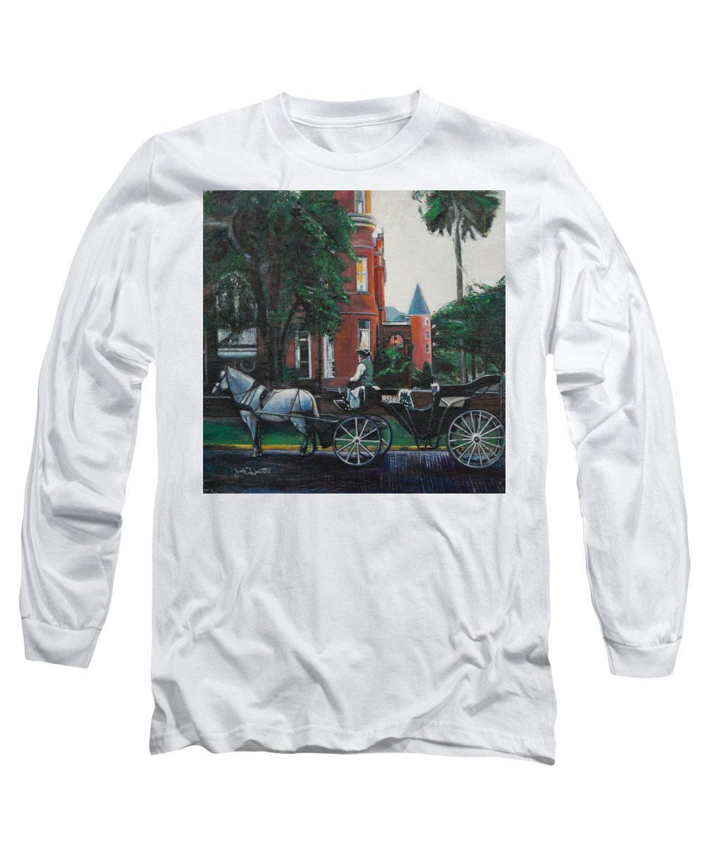 Long Sleeve T-Shirt featuring the painting Mansion On Forsythe Savannah Georgia by Jude Darrien
