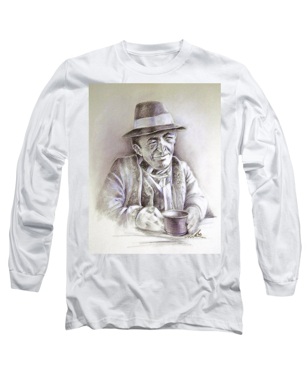 Portrait Michael Anderson Long Sleeve T-Shirt featuring the painting Michael J Anderson by Miki De Goodaboom