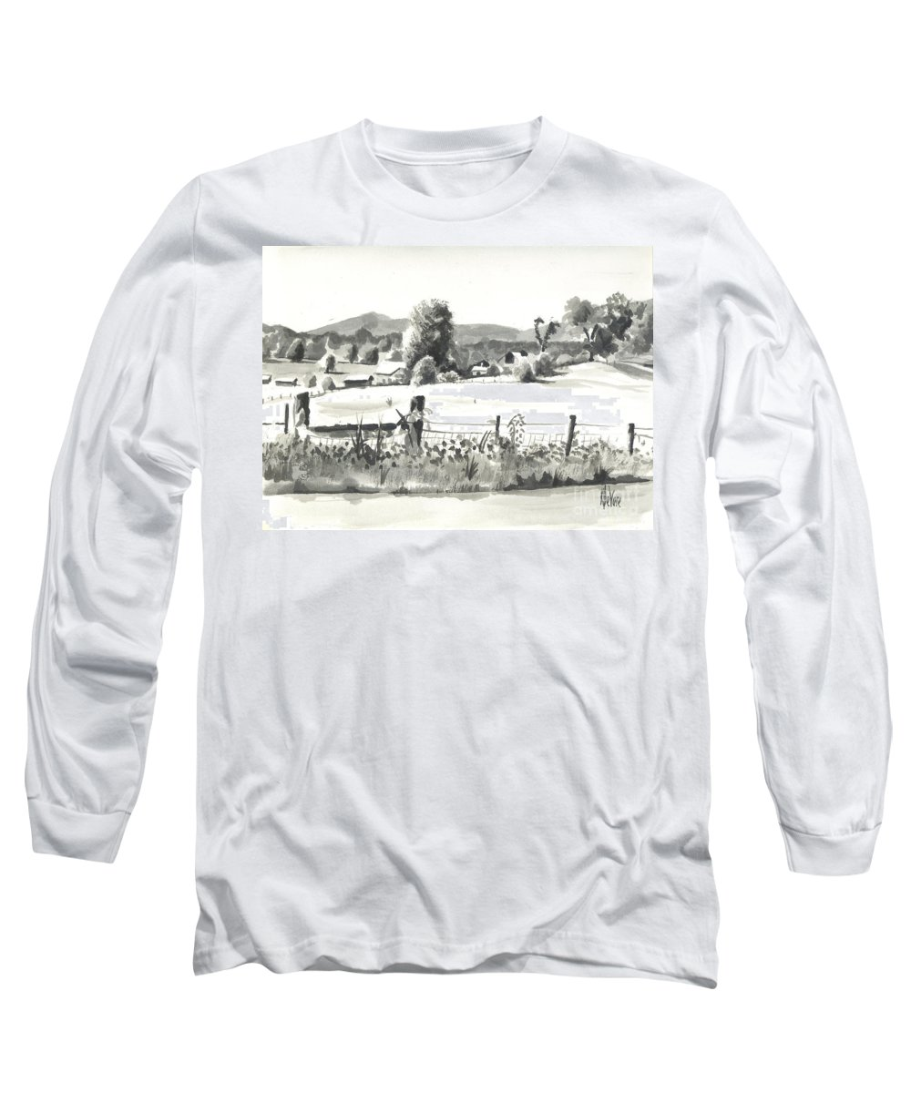 Midsummer View Out Route Jj  No I101 Long Sleeve T-Shirt featuring the painting Midsummer View Out Route Jj  No I101 by Kip DeVore