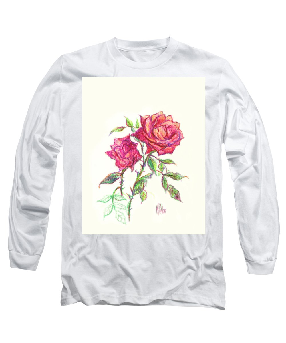 Nature Long Sleeve T-Shirt featuring the painting Minature Red Rose by Kip DeVore