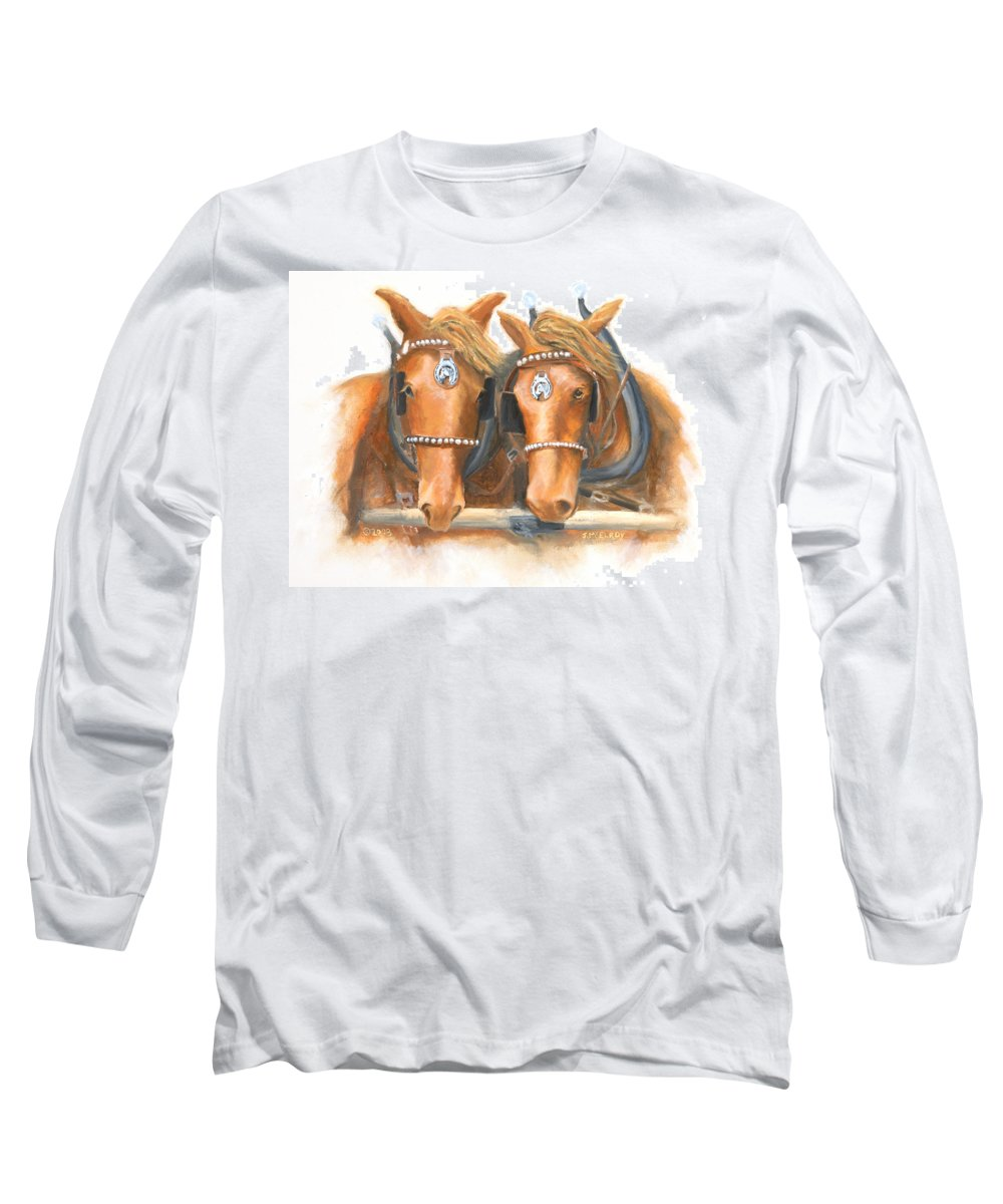 Horse Long Sleeve T-Shirt featuring the painting Mini And Jake by Jerry McElroy