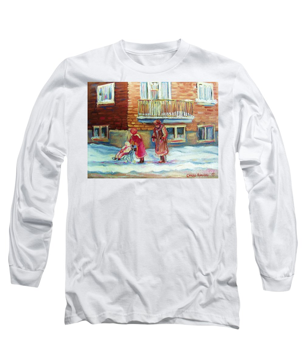 Montreal Long Sleeve T-Shirt featuring the painting Montreal Winter Scenes by Carole Spandau