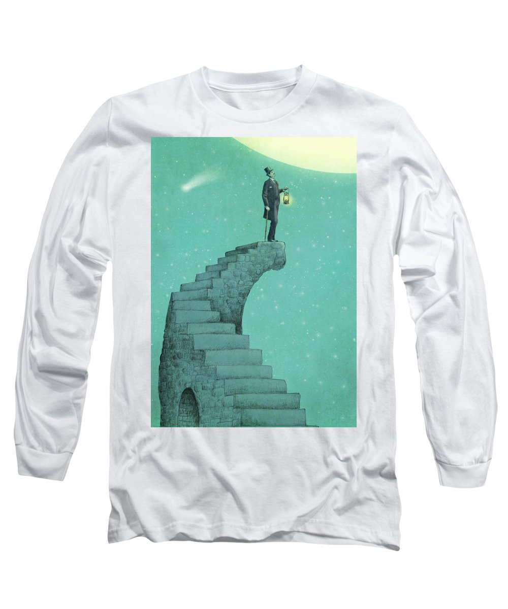 Moon Long Sleeve T-Shirt featuring the drawing Moon Steps by Eric Fan