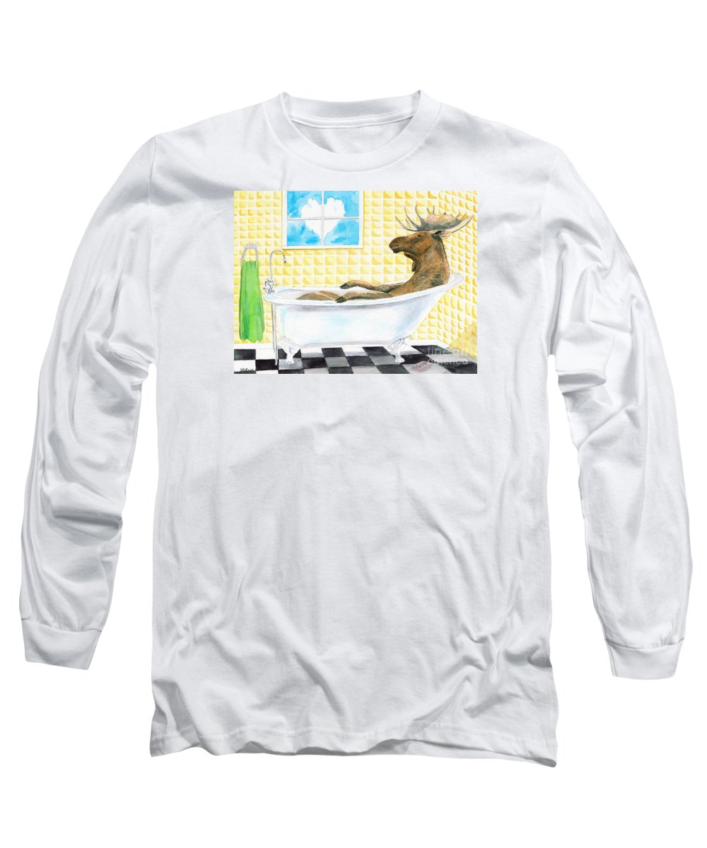 Moose Long Sleeve T-Shirt featuring the painting Moose Bath by LeAnne Sowa