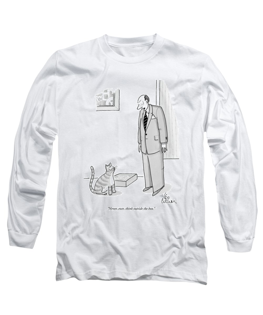 Never Long Sleeve T-Shirt featuring the drawing Never, Ever, Think Outside The Box by Leo Cullum