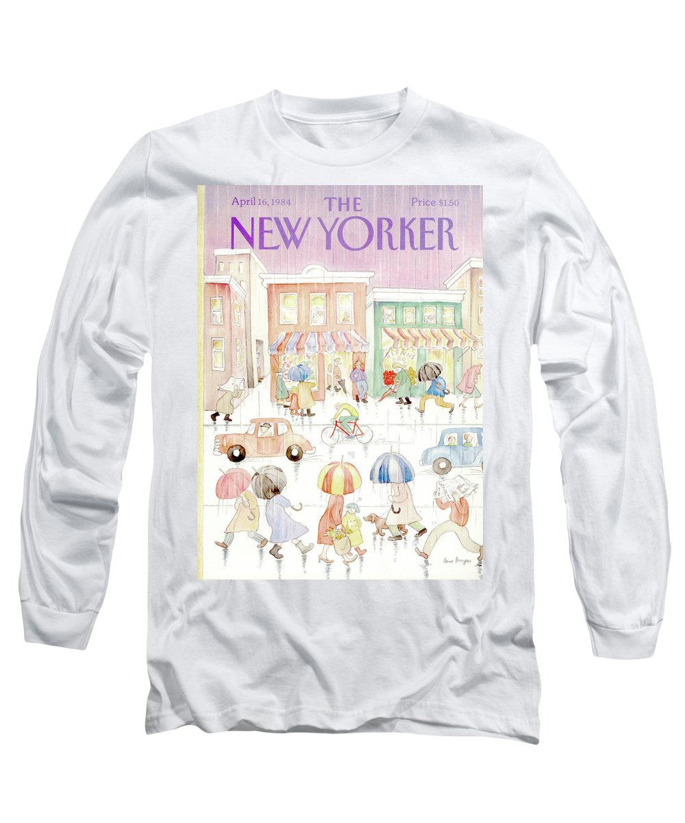 Rain Long Sleeve T-Shirt featuring the painting New Yorker April 16th, 1984 by Anne Burgess
