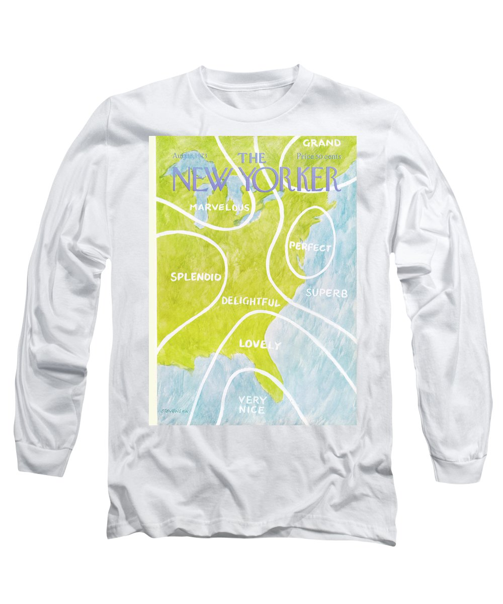 East Long Sleeve T-Shirt featuring the painting New Yorker August 13th, 1973 by James Stevenson