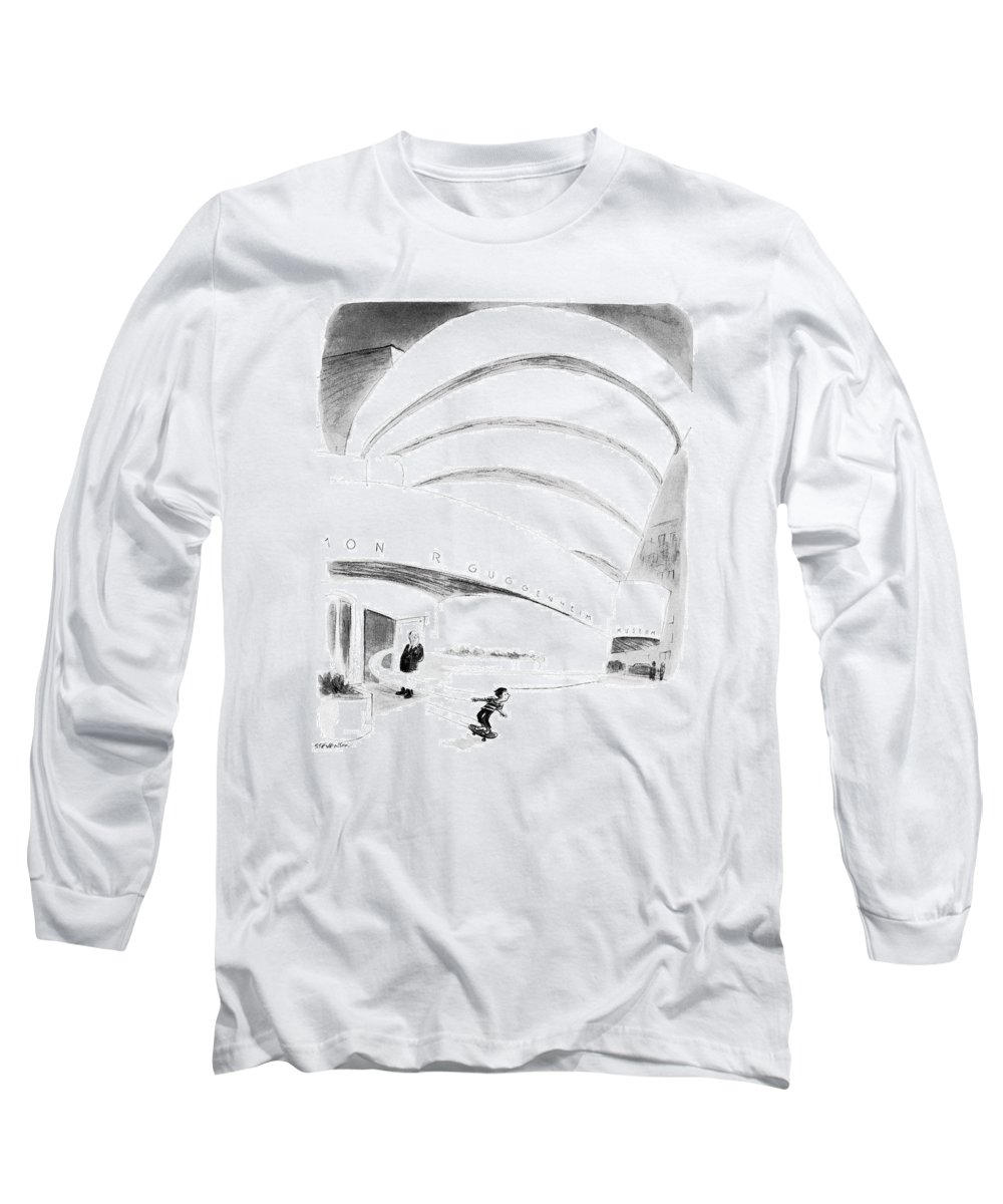 (boy Rides Out Of Guggenheim Museum On A Skateboard.) Architecture Long Sleeve T-Shirt featuring the drawing New Yorker August 16th, 1976 by James Stevenson