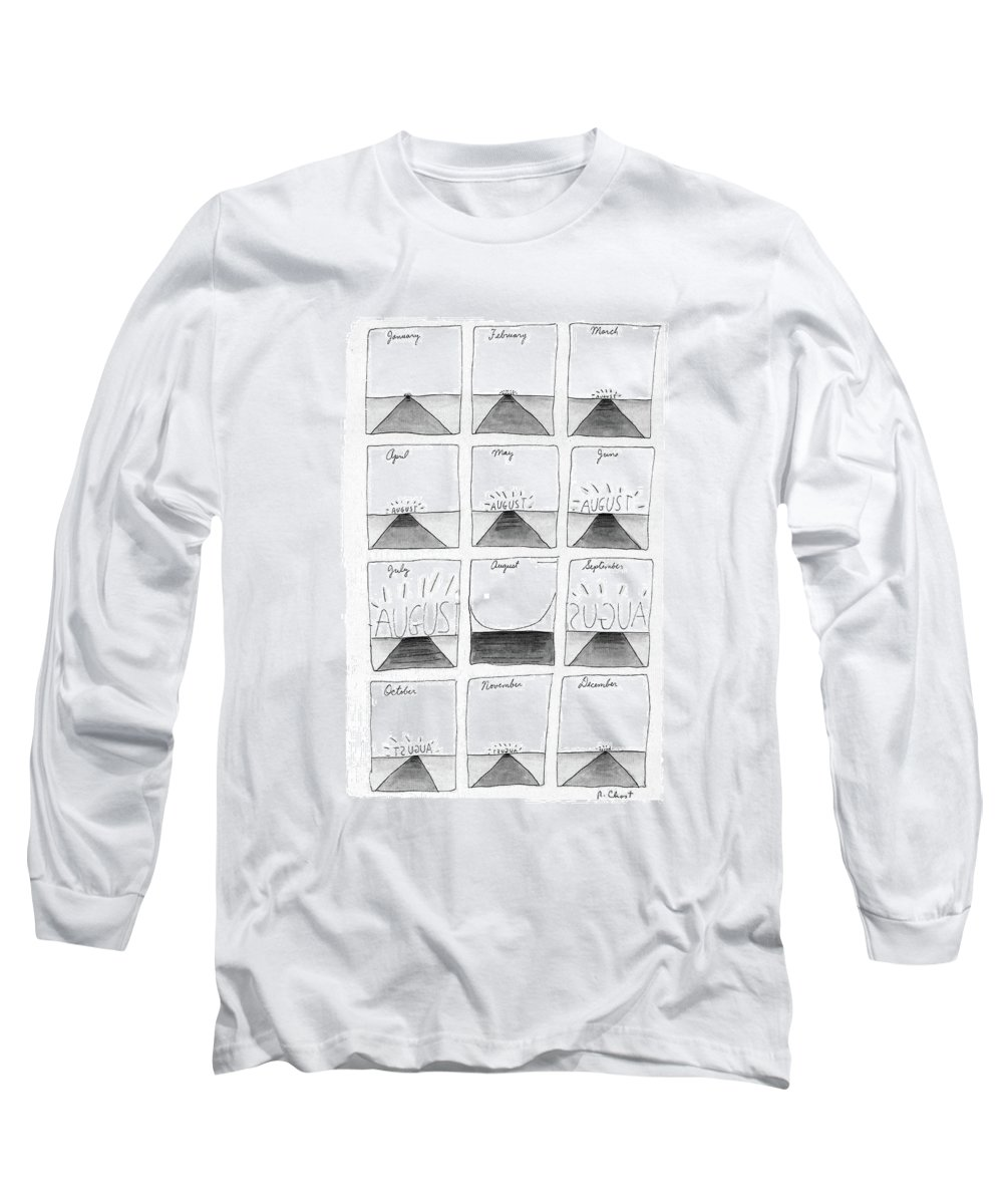 August: Full-page Long Sleeve T-Shirt featuring the drawing New Yorker August 29th, 1988 by Roz Chast