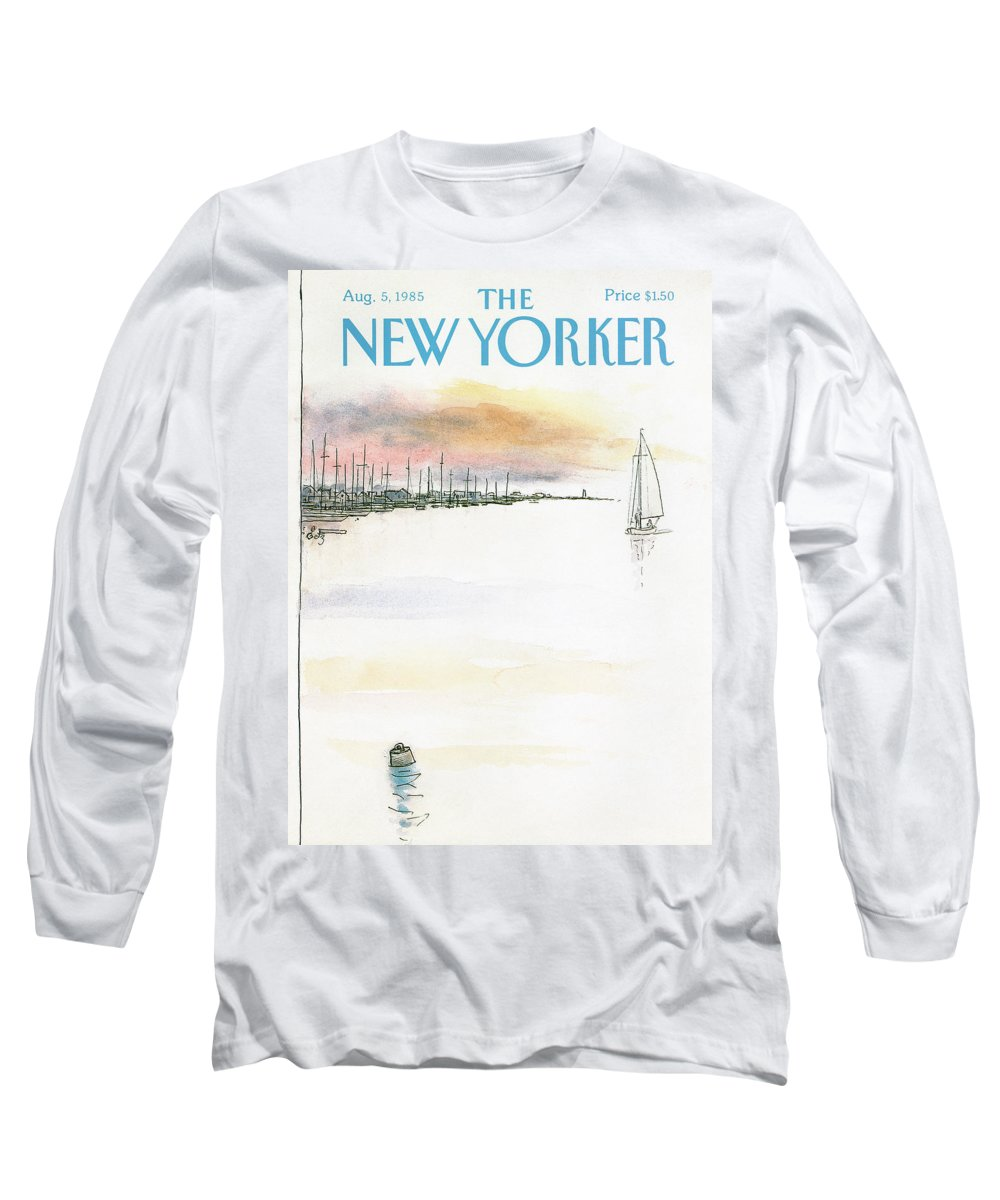 Nature Long Sleeve T-Shirt featuring the painting New Yorker August 5th, 1985 by Arthur Getz