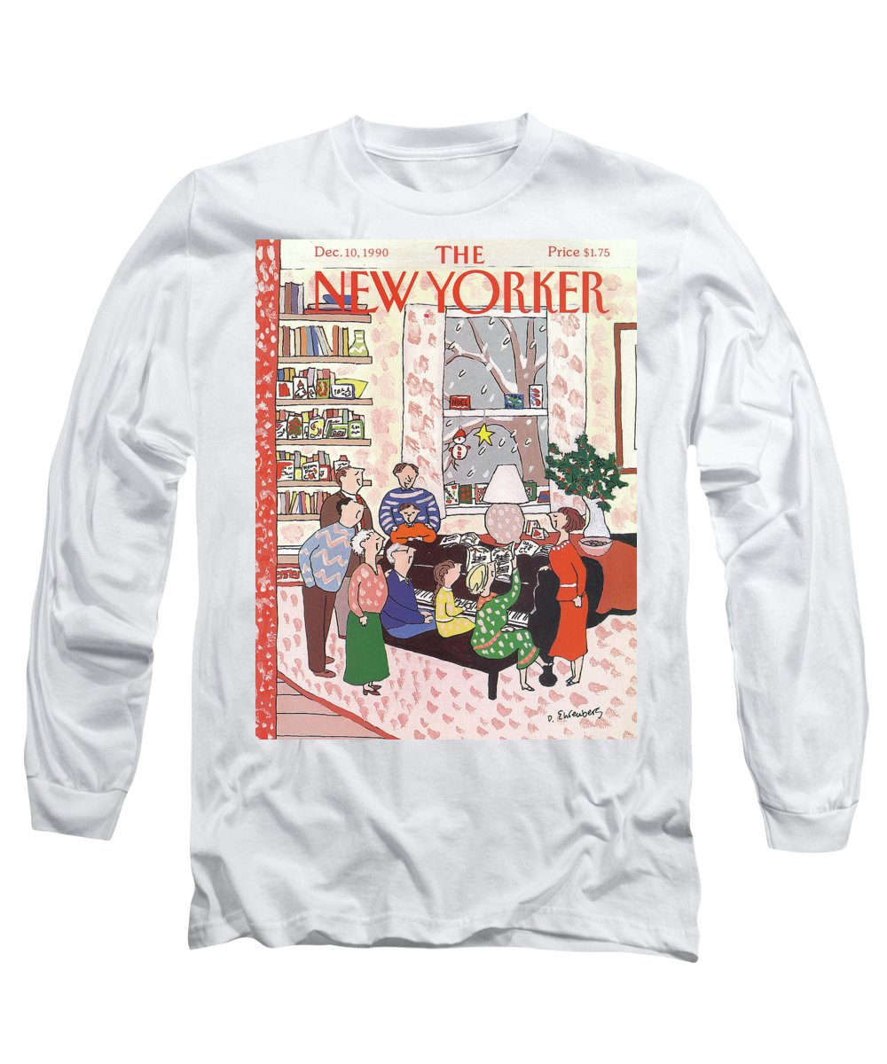 (a Family Gathers Around A Piano As They Sing Christmas Carols.) Entertainment Long Sleeve T-Shirt featuring the painting New Yorker December 10th, 1990 by Devera Ehrenberg