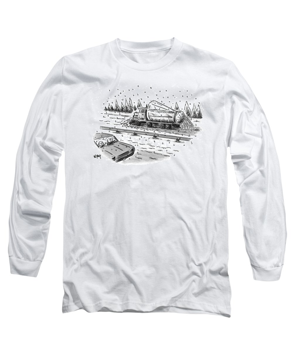 Winter Long Sleeve T-Shirt featuring the drawing New Yorker February 22nd, 1999 by Christopher Weyant