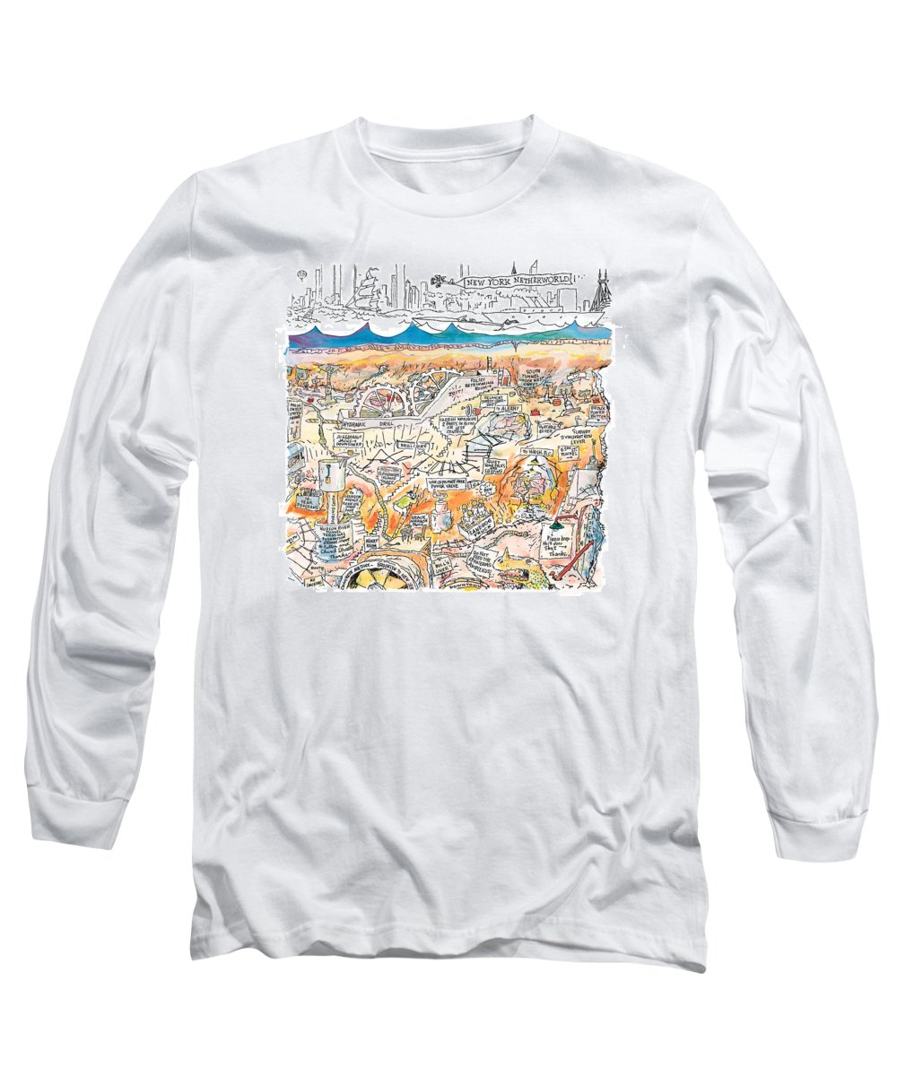 New York City Long Sleeve T-Shirt featuring the drawing New Yorker February 22nd, 1999 by George Booth