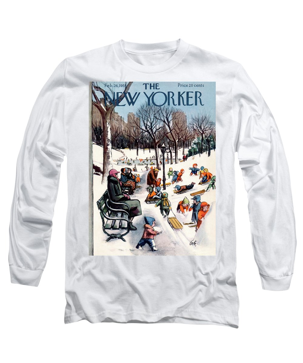 (dozens Of Children Play In A Snow Covered Central Park Long Sleeve T-Shirt featuring the painting New Yorker February 26th, 1955 by Arthur Getz