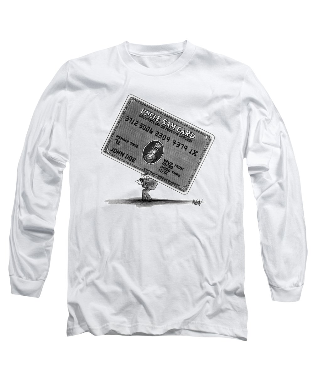No Caption A Man Long Sleeve T-Shirt featuring the drawing New Yorker January 14th, 1991 by Kenneth Mahood