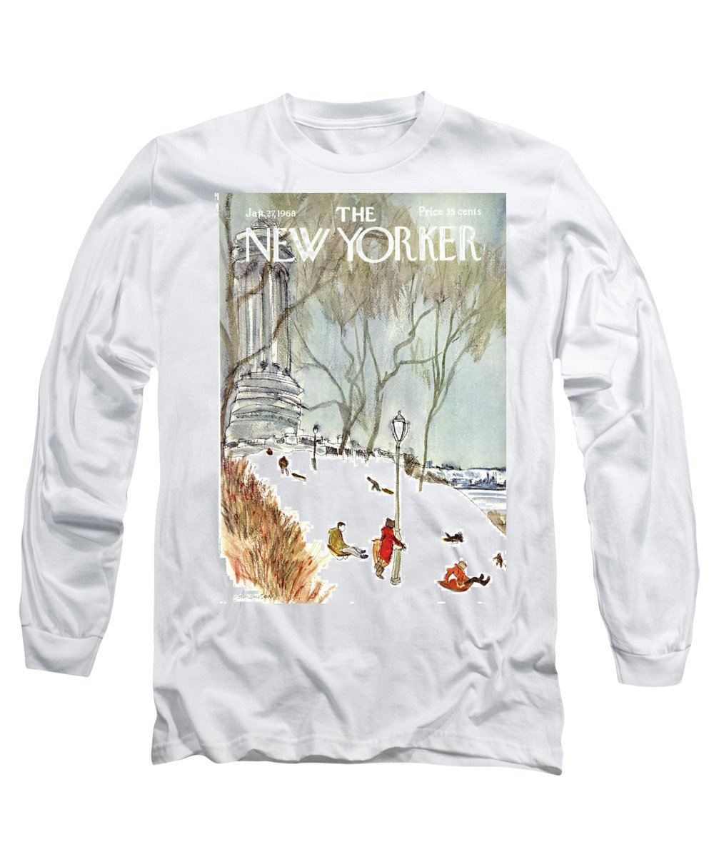 Seasons Long Sleeve T-Shirt featuring the painting New Yorker January 27th, 1968 by James Stevenson