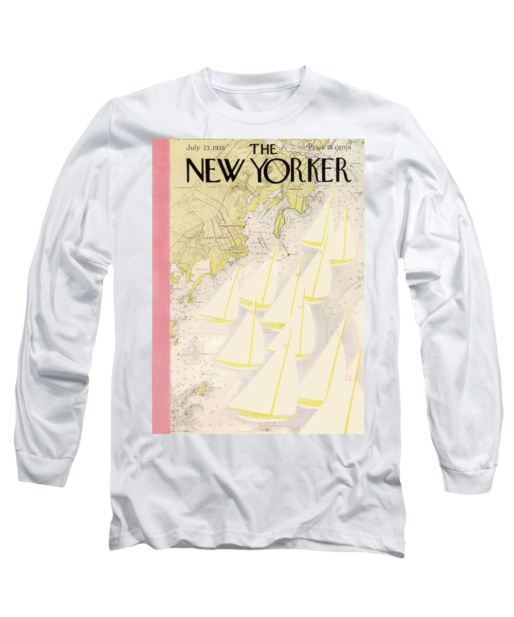 Illustration Long Sleeve T-Shirt featuring the painting New Yorker July 23rd, 1938 by Arthur Getz