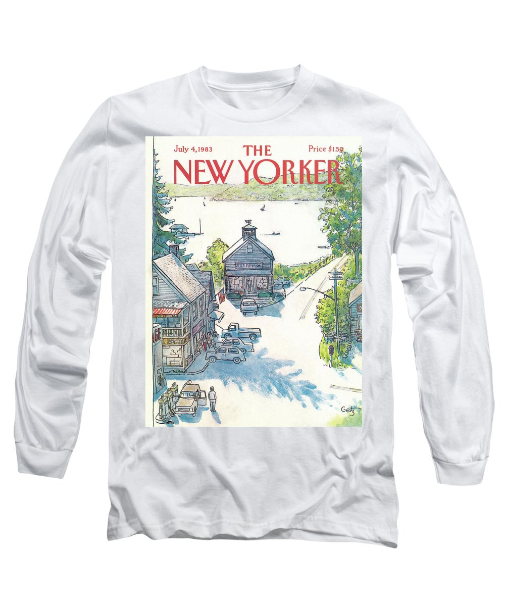 Rural Long Sleeve T-Shirt featuring the painting New Yorker July 4th, 1983 by Arthur Getz