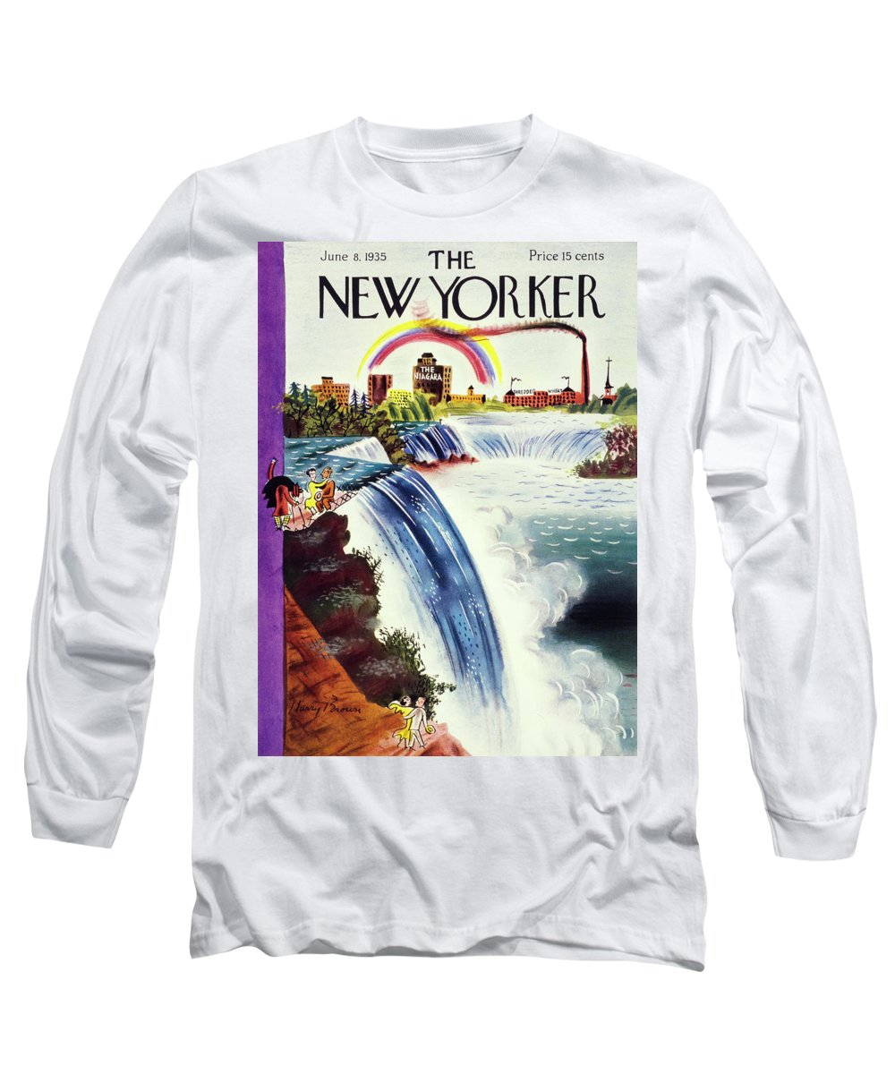 Landscape Long Sleeve T-Shirt featuring the painting New Yorker June 8 1935 by Harry Brown