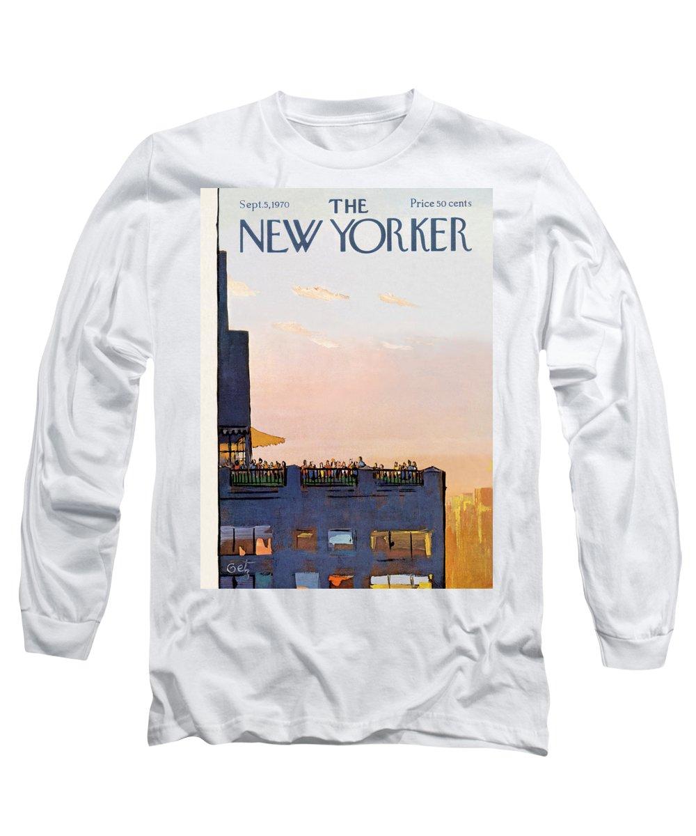 Arthur Getz Agt Long Sleeve T-Shirt featuring the painting New Yorker September 5th, 1970 by Arthur Getz
