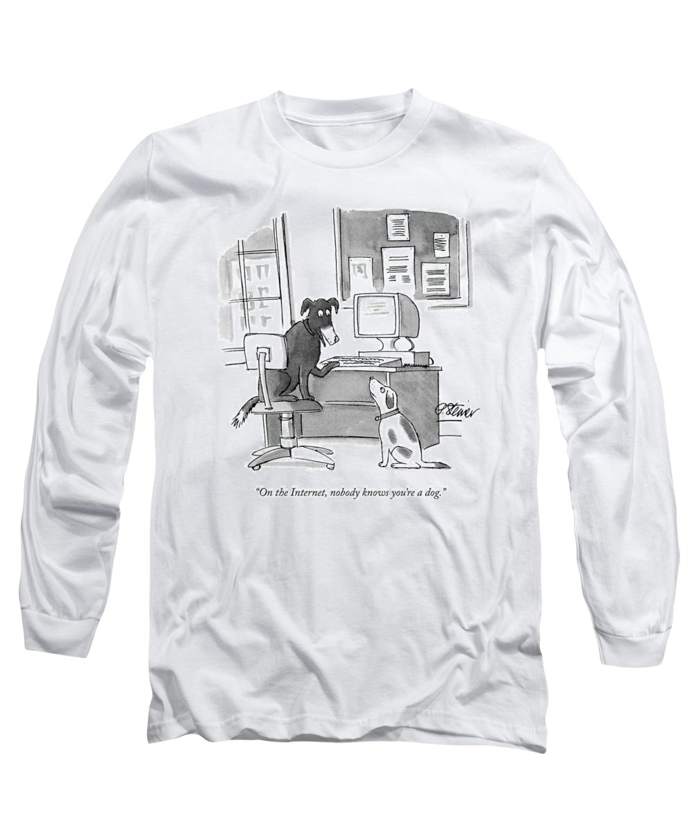 On The Internet Long Sleeve T-Shirt featuring the drawing On The Internet by Peter Steiner
