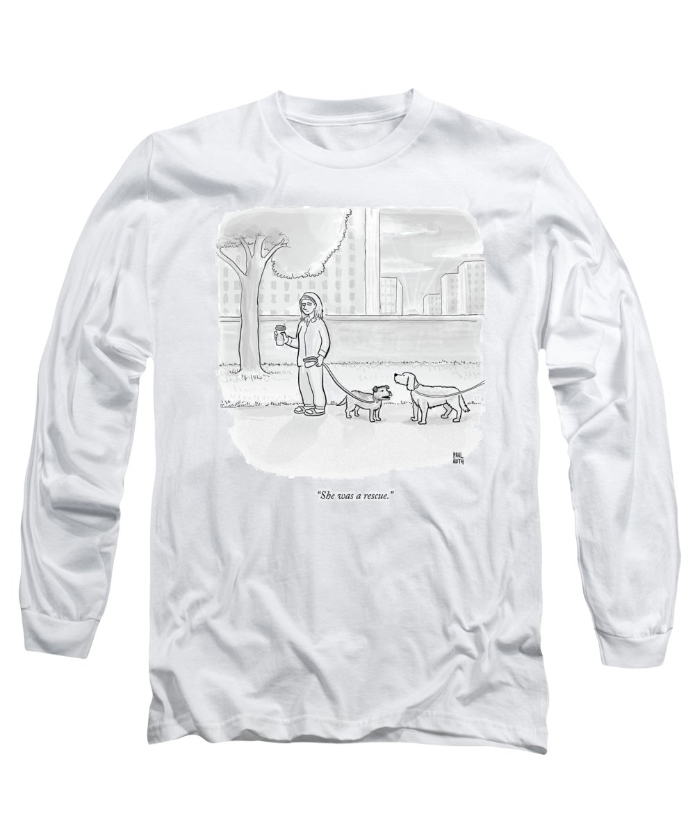 Dogs Long Sleeve T-Shirt featuring the drawing One Dog Talks To Another by Paul Noth