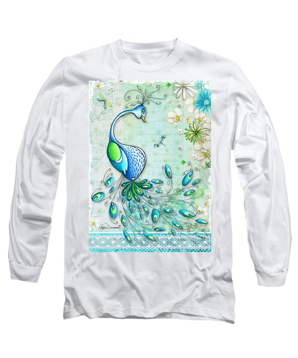 Peacock Long Sleeve T-Shirt featuring the painting Original Peacock Painting Bird Art By Megan Duncanson by Megan Duncanson