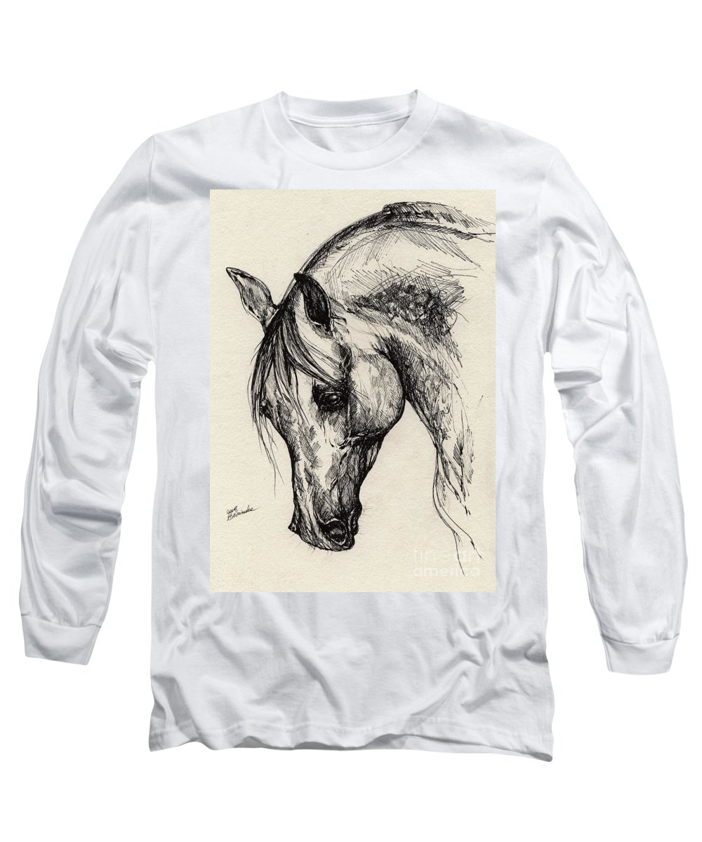 Polis Long Sleeve T-Shirt featuring the drawing Ostragon by Angel Ciesniarska