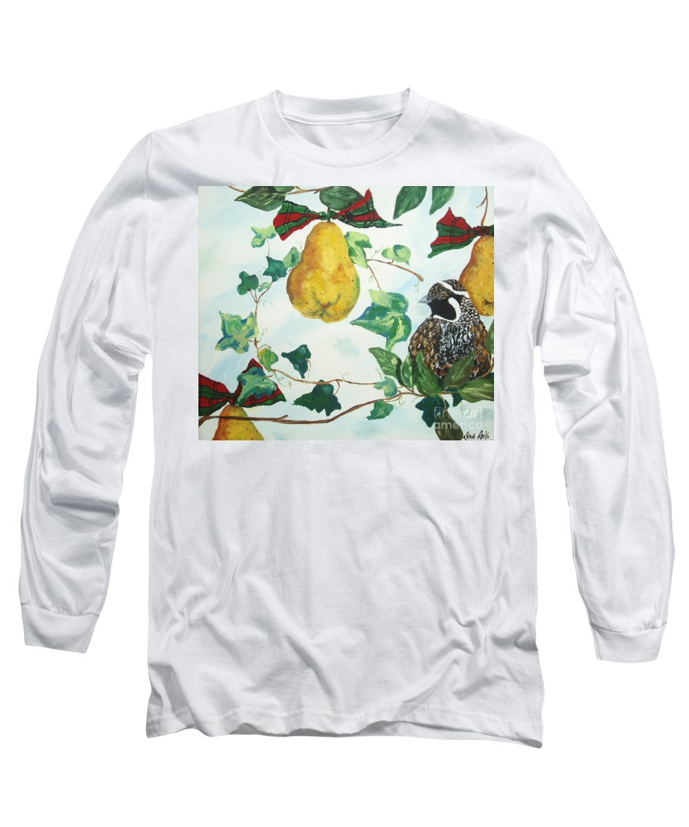 Tree Long Sleeve T-Shirt featuring the painting Partridge And Pears by Reina Resto