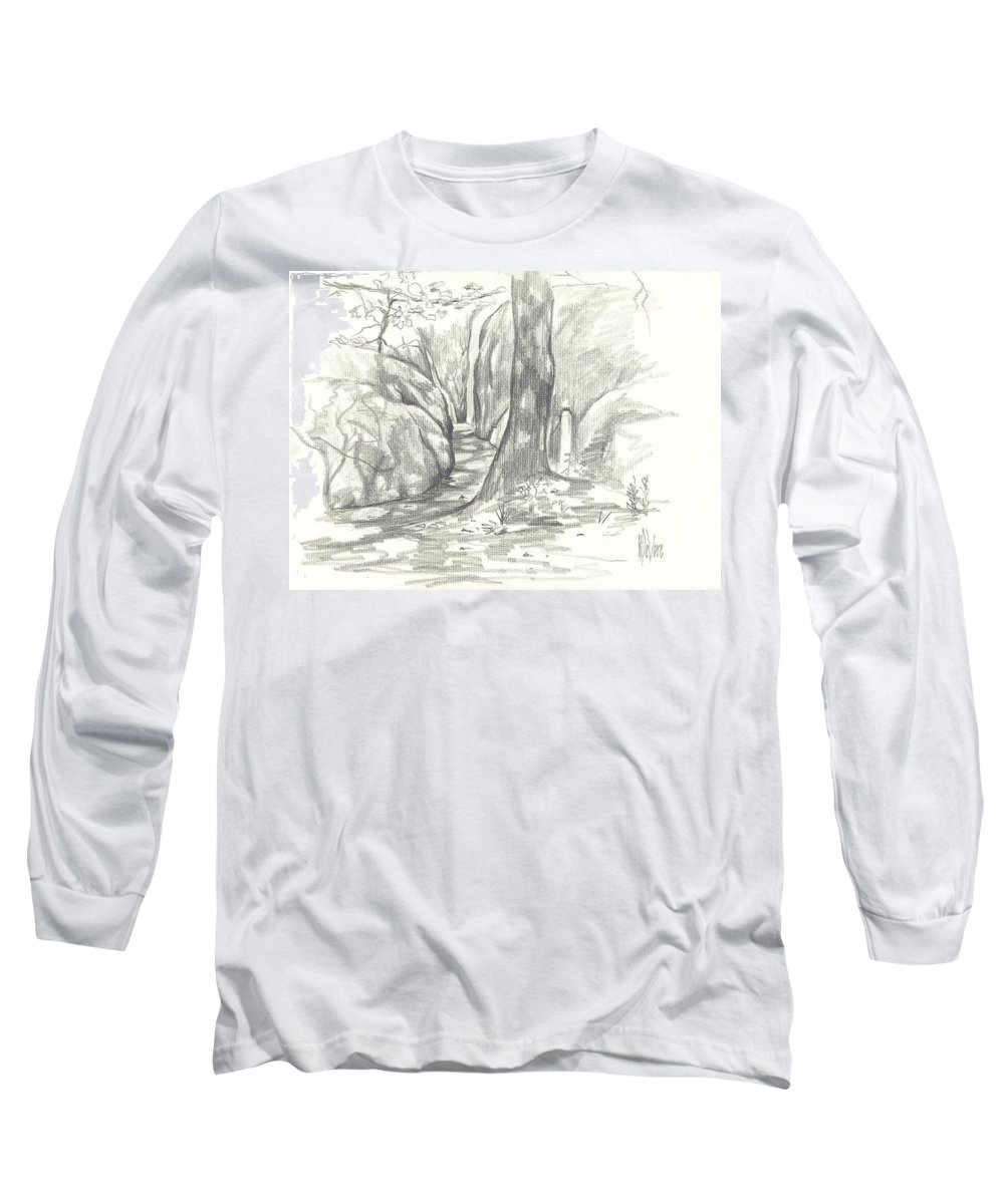 Passageway At Elephant Rocks Long Sleeve T-Shirt featuring the drawing Passageway At Elephant Rocks by Kip DeVore