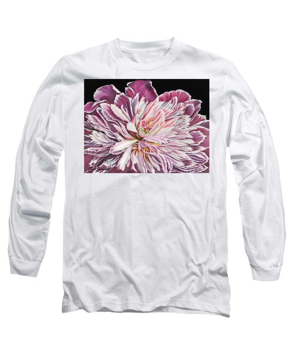 Flower Long Sleeve T-Shirt featuring the painting Pink Peony by Jane Girardot