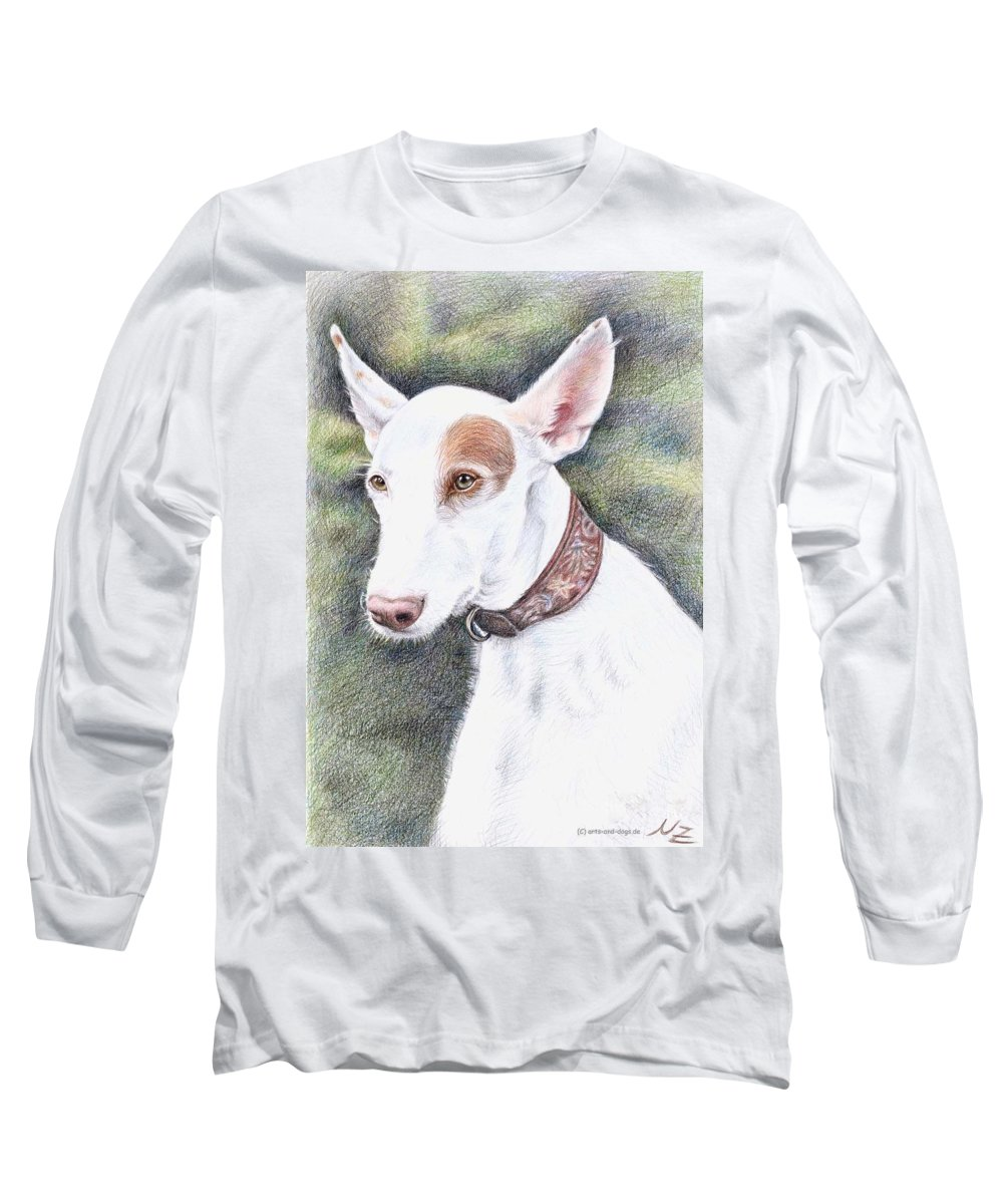 Dog Long Sleeve T-Shirt featuring the drawing Podenco Ibicenco by Nicole Zeug