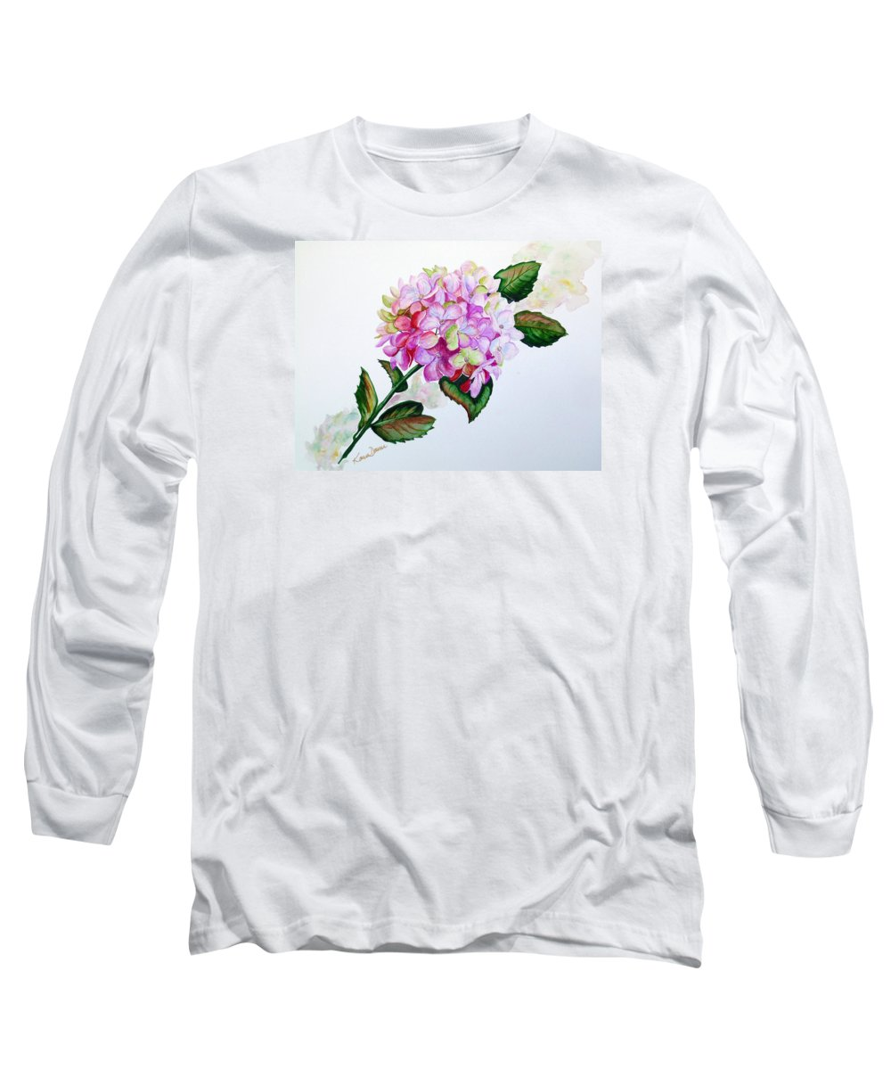 Hydrangea Painting Floral Painting Flower Pink Hydrangea Painting Botanical Painting Flower Painting Botanical Painting Greeting Card Painting Painting Long Sleeve T-Shirt featuring the painting Pretty In Pink by Karin Dawn Kelshall- Best