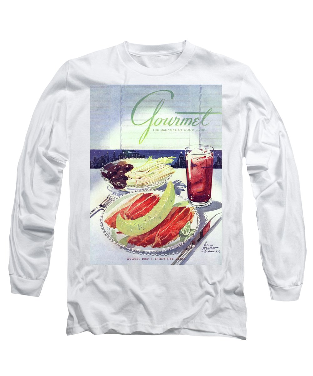 Food Long Sleeve T-Shirt featuring the photograph Prosciutto, Melon, Olives, Celery And A Glass by Henry Stahlhut